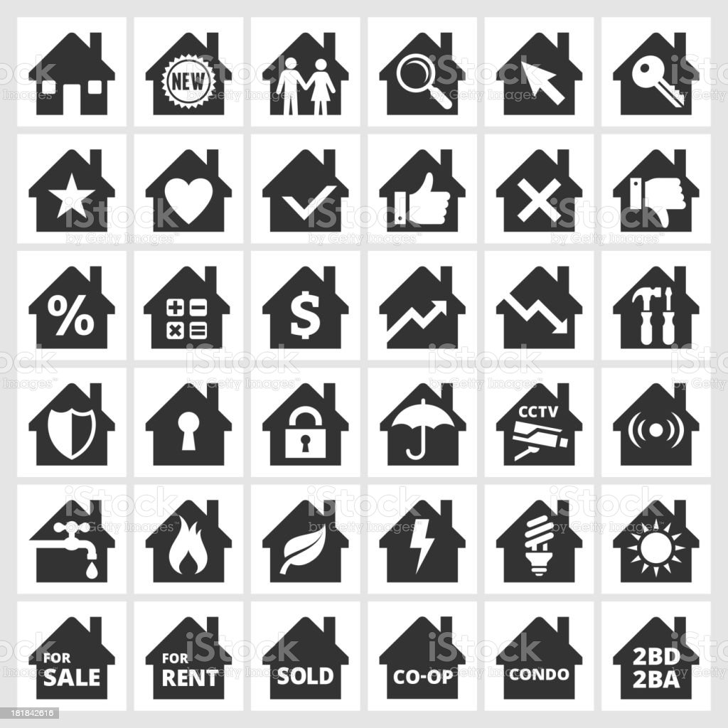 Home black & white royalty free vector icon set royalty-free stock vector art