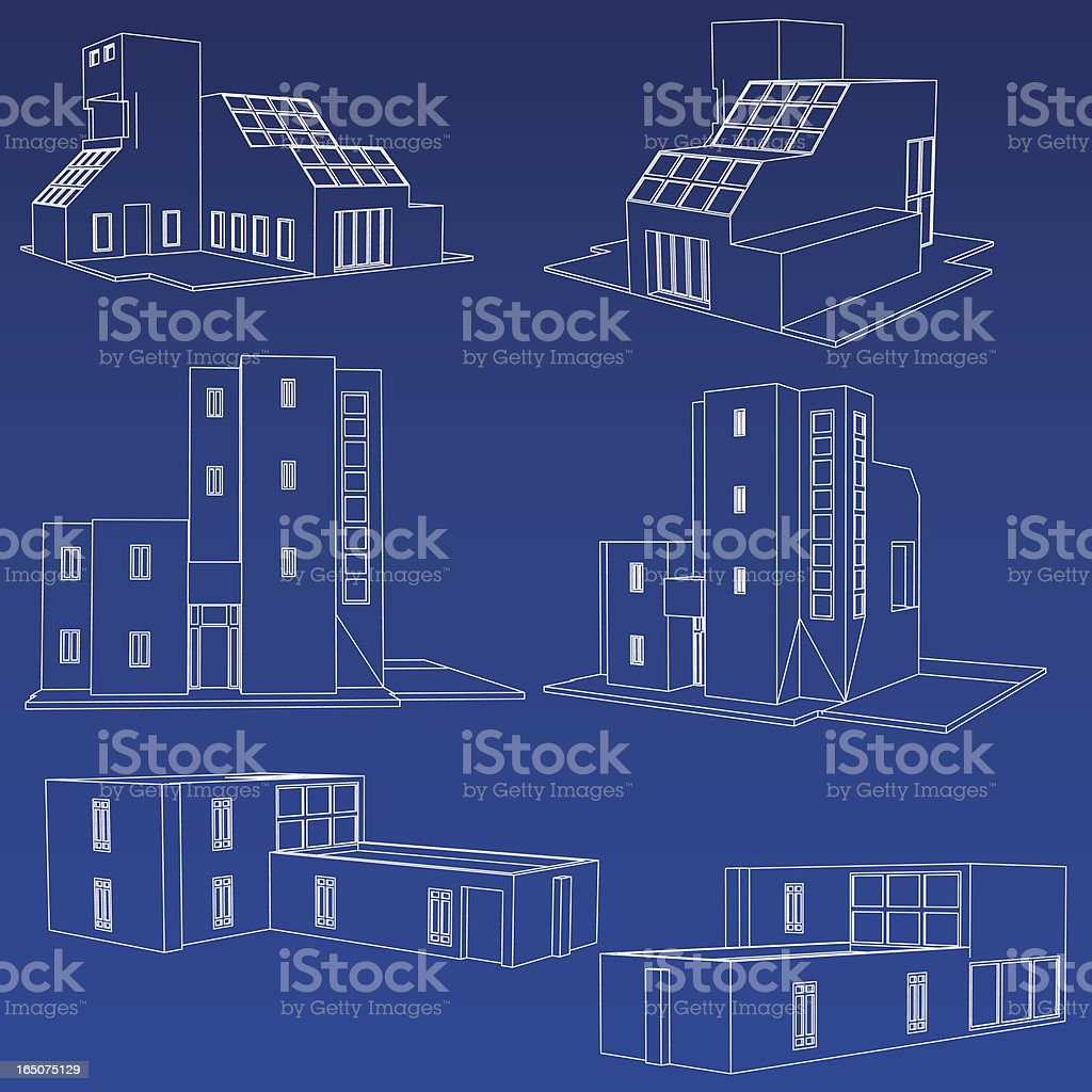Home Blueprint Collection royalty-free stock vector art