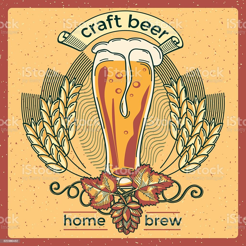 Home brew craft beer emblem vector art illustration