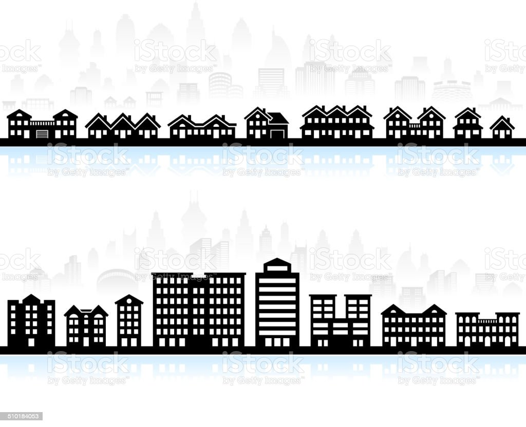 Home & Buildings royalty free vector interface icon set vector art illustration