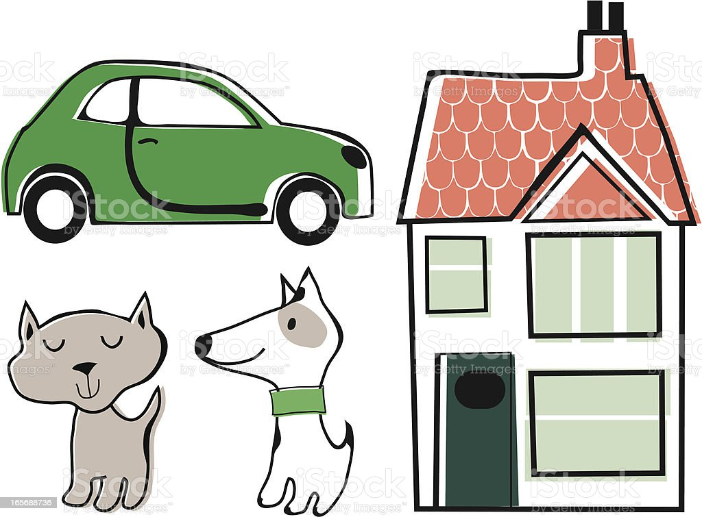 Home Car and Pets vector art illustration
