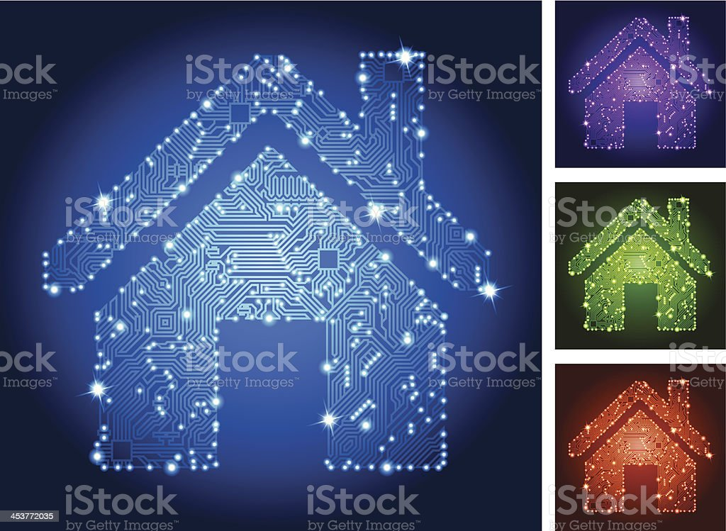 Home Circuit Board Color Set vector art illustration