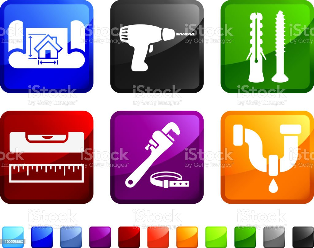 Home Construction Plans and Supplies vector icon set stickers royalty-free stock vector art