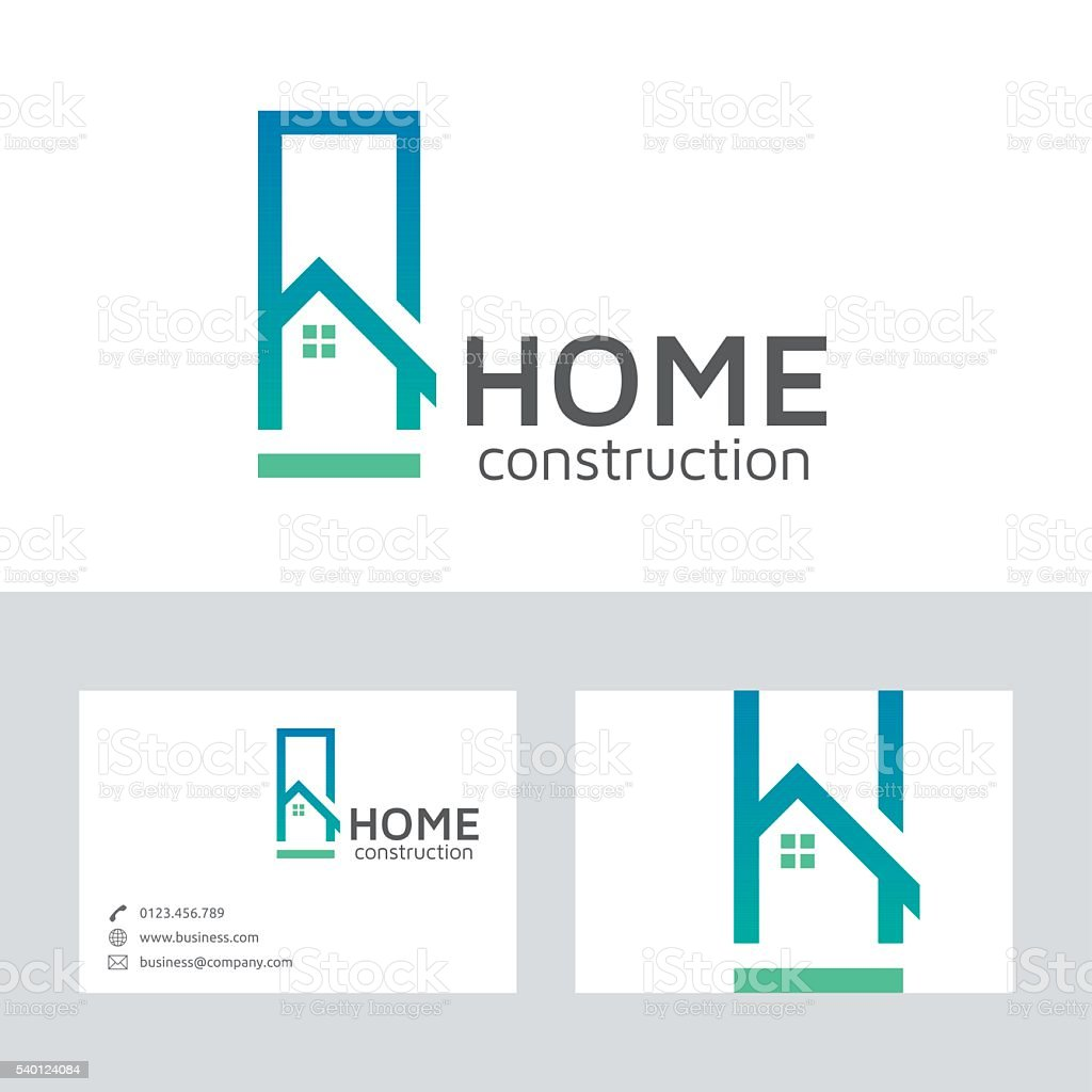 Home construction vector logo with business card template vector art illustration