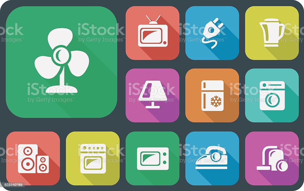 Home electronics icons vector art illustration