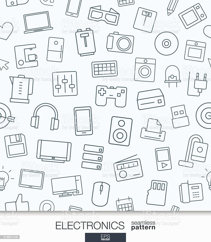 Home Electronics wallpaper. Black and white digital shop seamless pattern vector art illustration