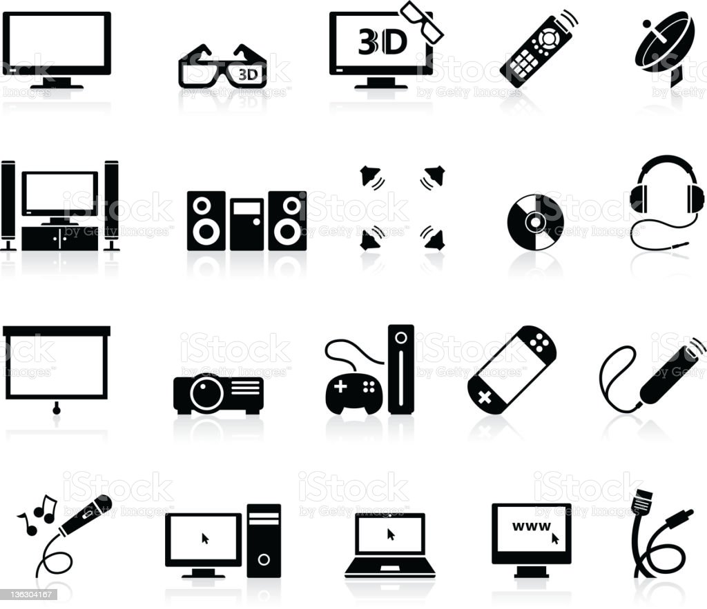 Home Entertainment icons stock photo