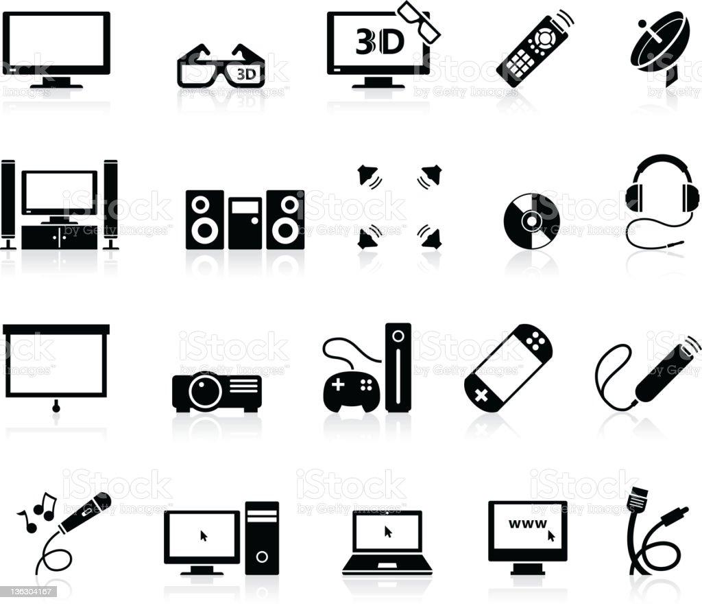 Home Entertainment icons vector art illustration