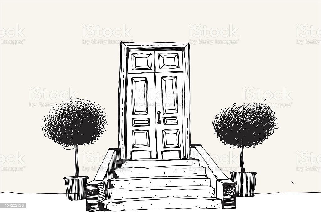 Home Entrance with trees vector art illustration