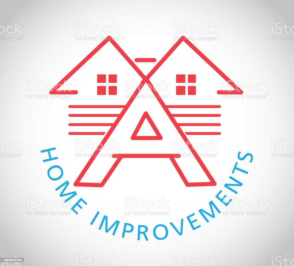 Home exterior improvements icon with sample text vector art illustration