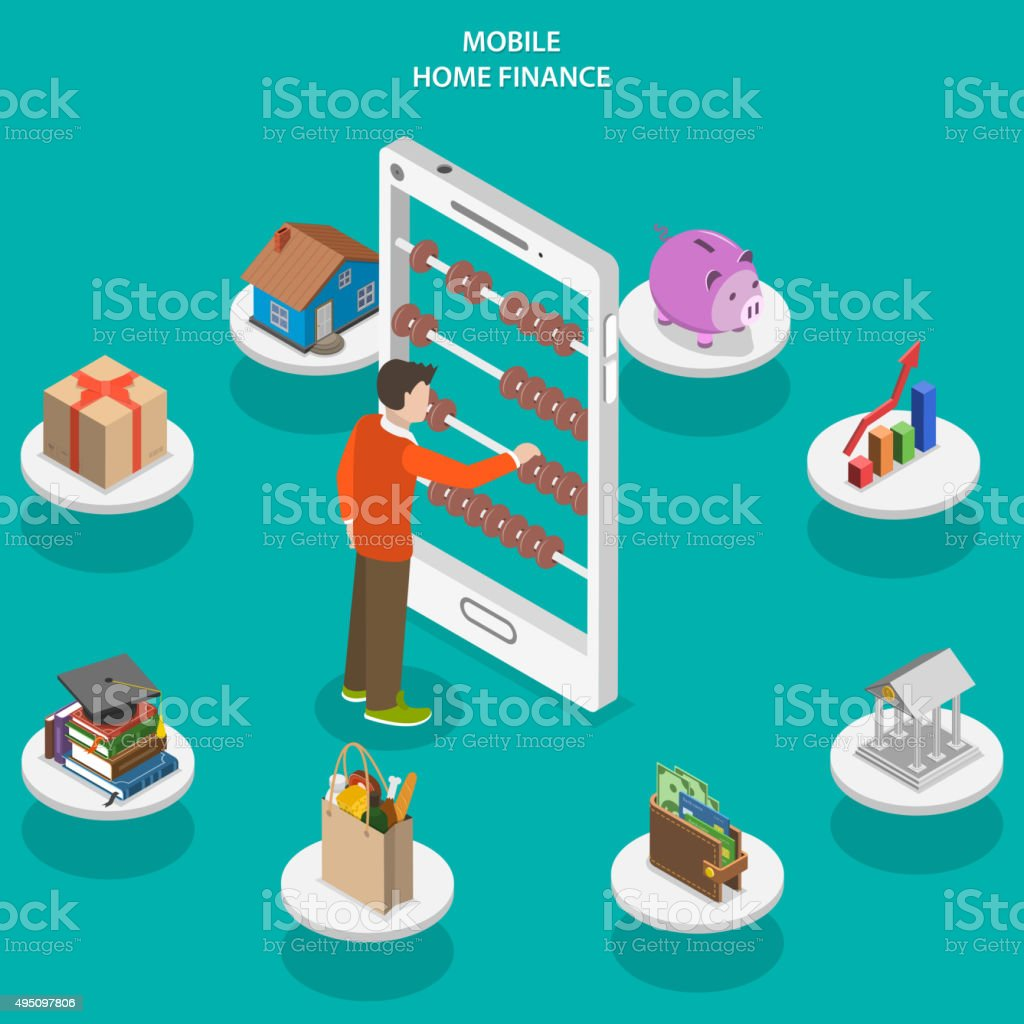 Home finance flat isometric vector concept. vector art illustration