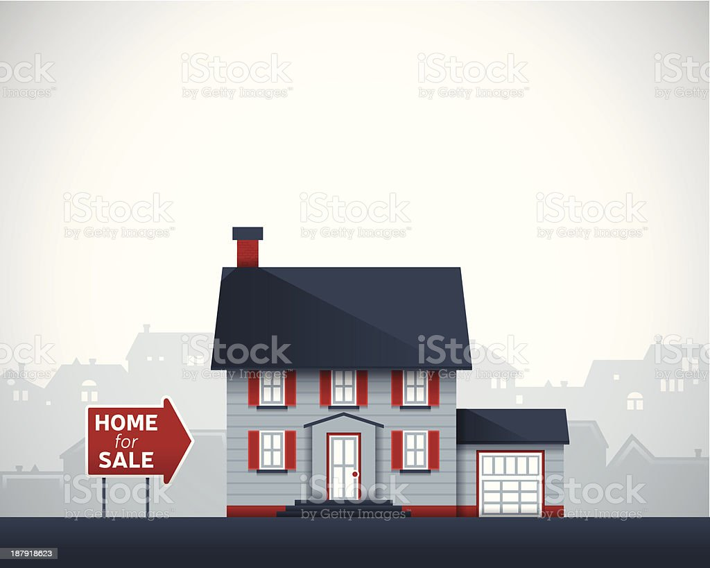 Home for Sale vector art illustration