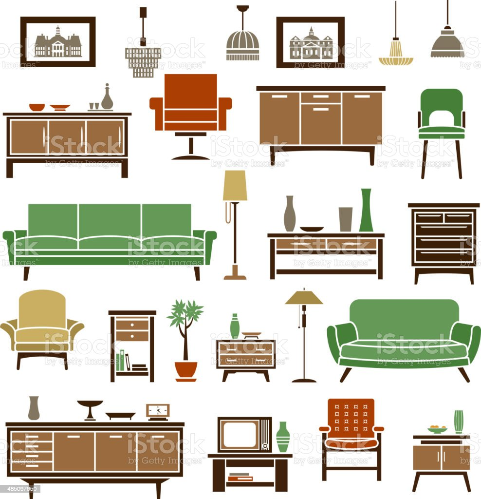 Home furniture elements in flat style vector art illustration