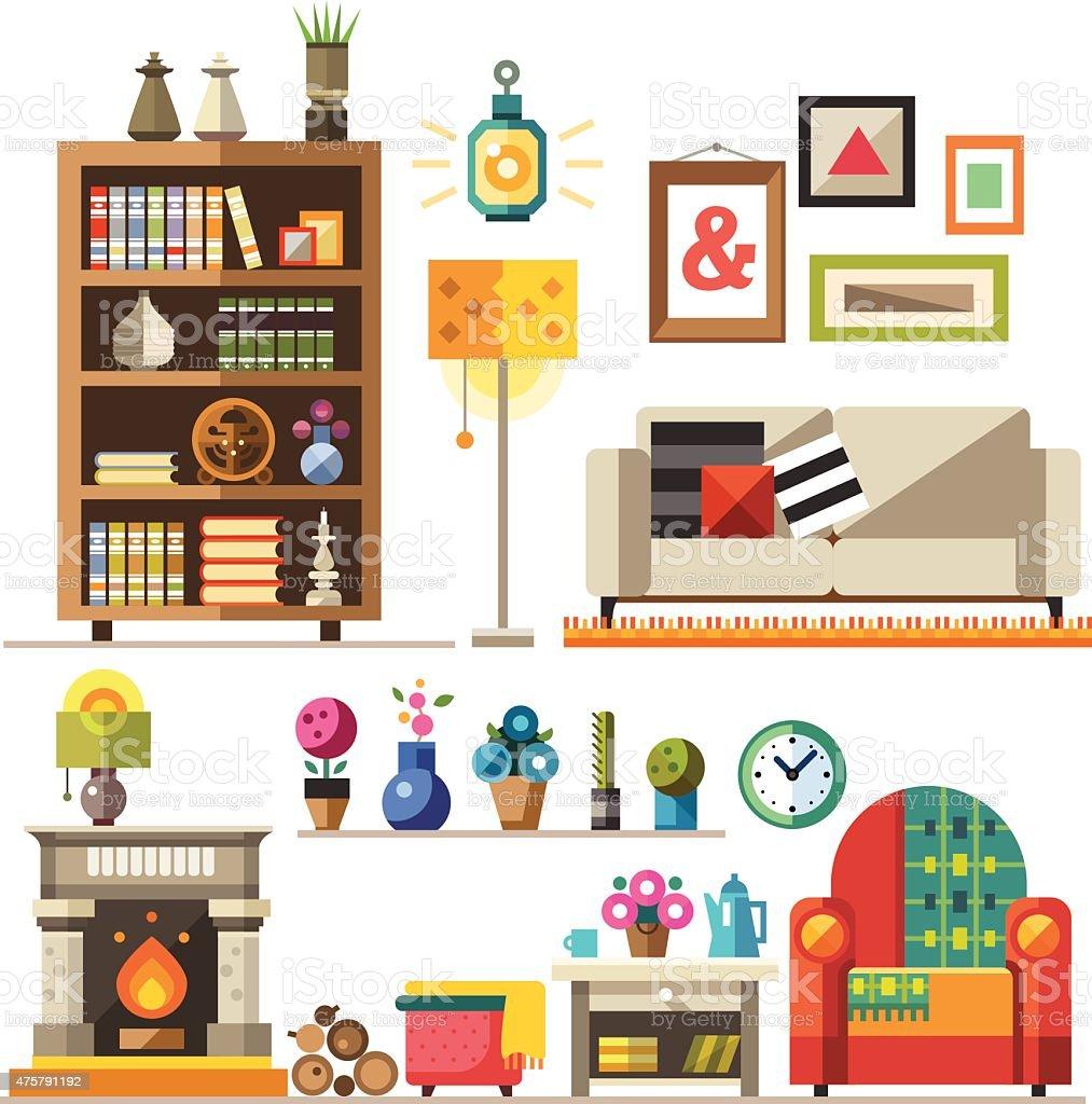 Home furniture. Interior design vector art illustration