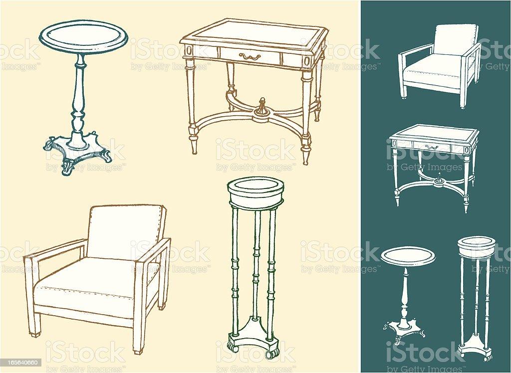 Home Furniture Sketch Set royalty-free stock vector art