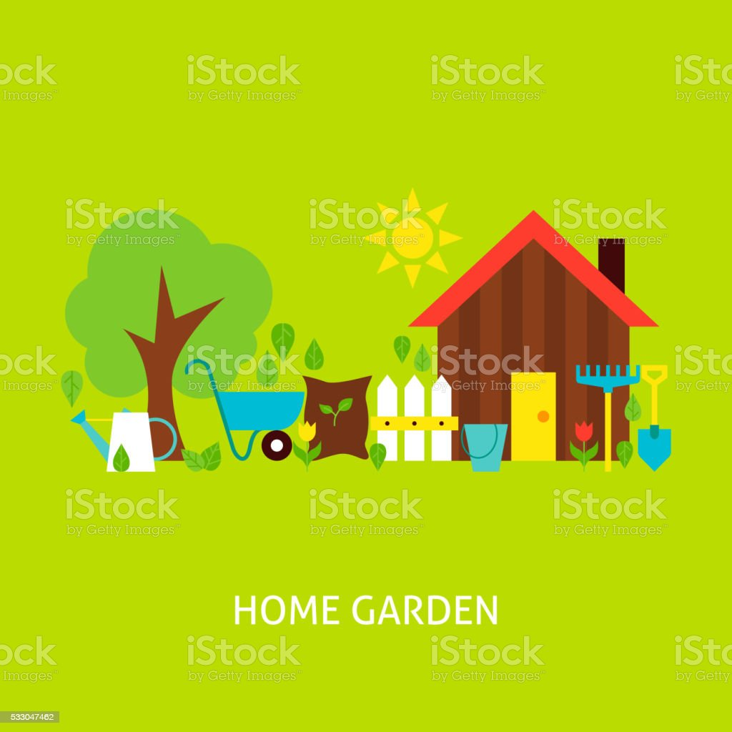 Home Garden Vector Flat Concept vector art illustration
