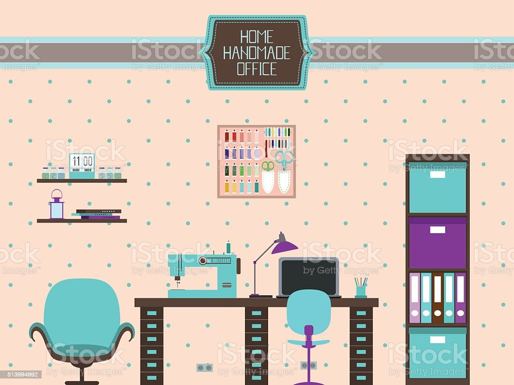 Home Handmade Office vector art illustration