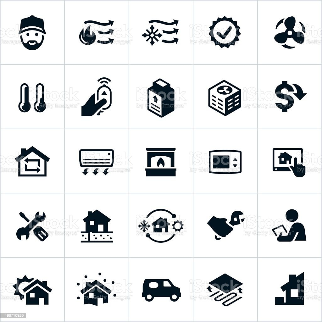 Home Heating and Cooling Icons vector art illustration