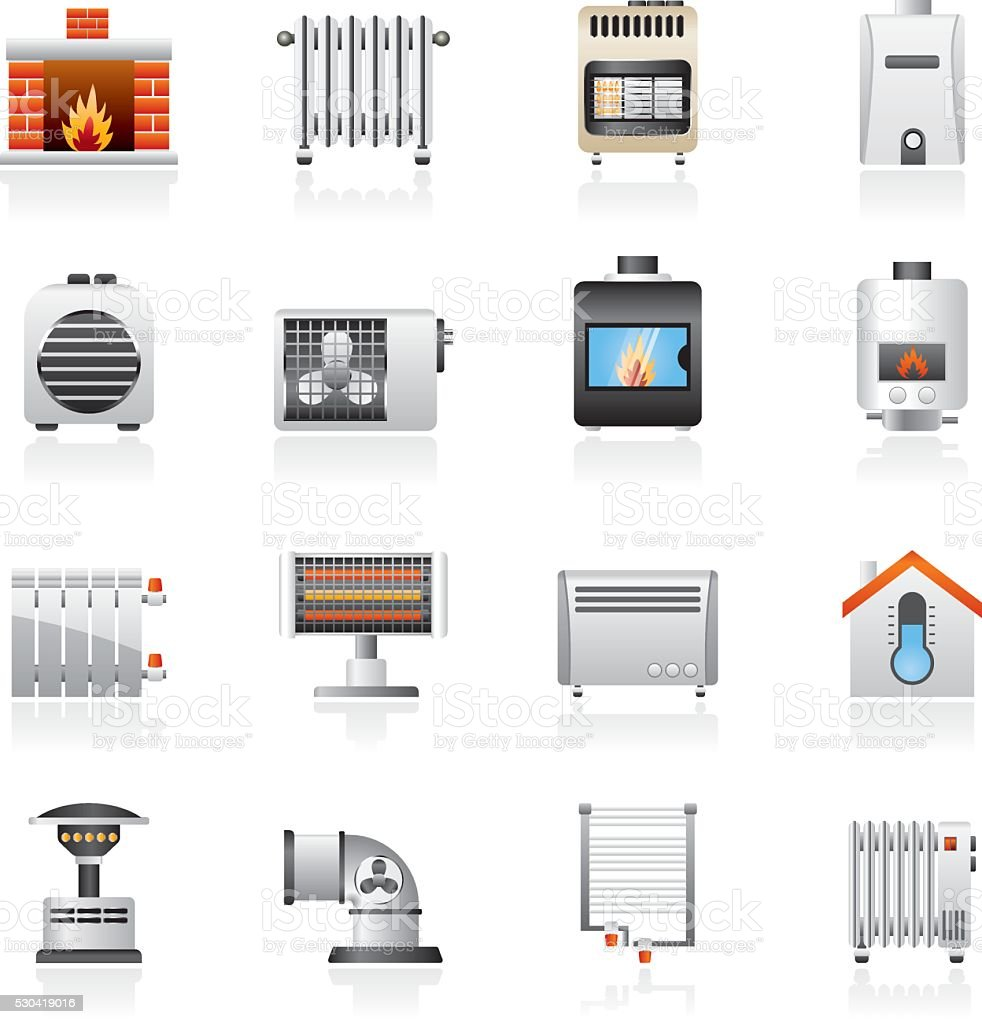 Home Heating appliances icons vector art illustration