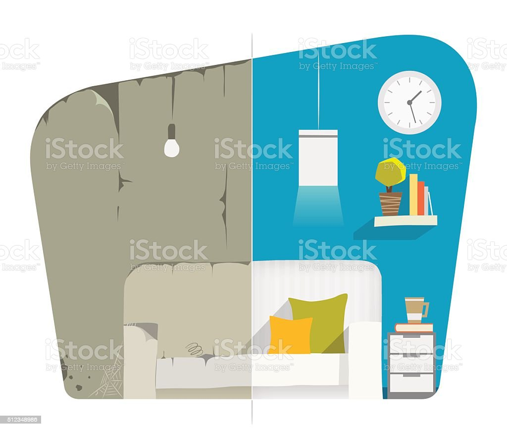 Home house flat apartment room domestic repair. Before and after vector art illustration