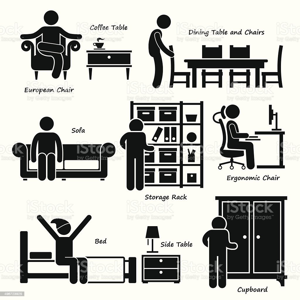 Home House Furniture Cliparts vector art illustration