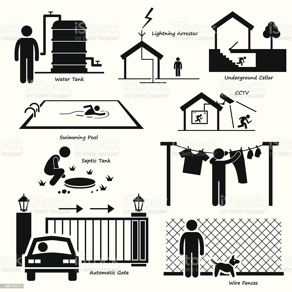 Home House Outdoor Infrastructure Fixtures Cliparts vector art illustration