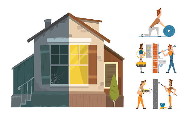 home house repair renovation service before and after vector art illustration
