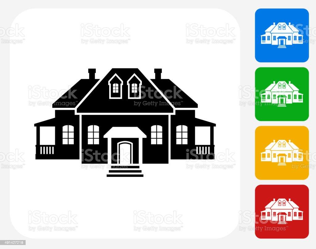 Home Icon Flat Graphic Design vector art illustration