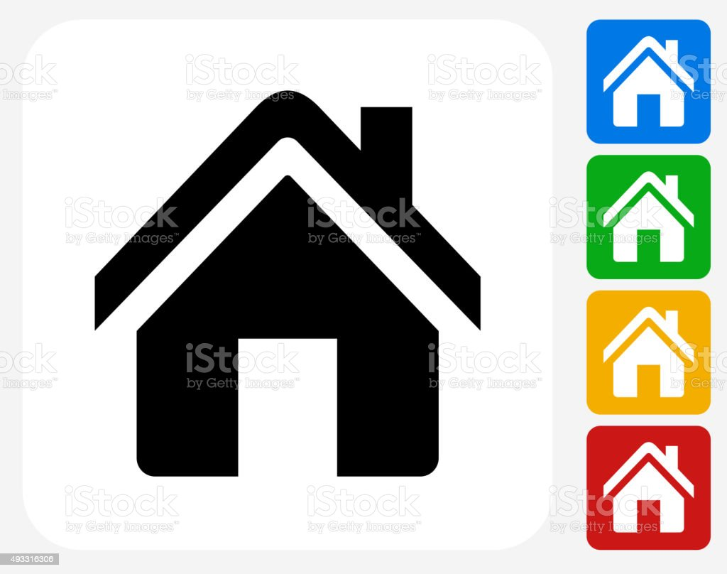 Home Icon Flat Graphic Design vector art illustration