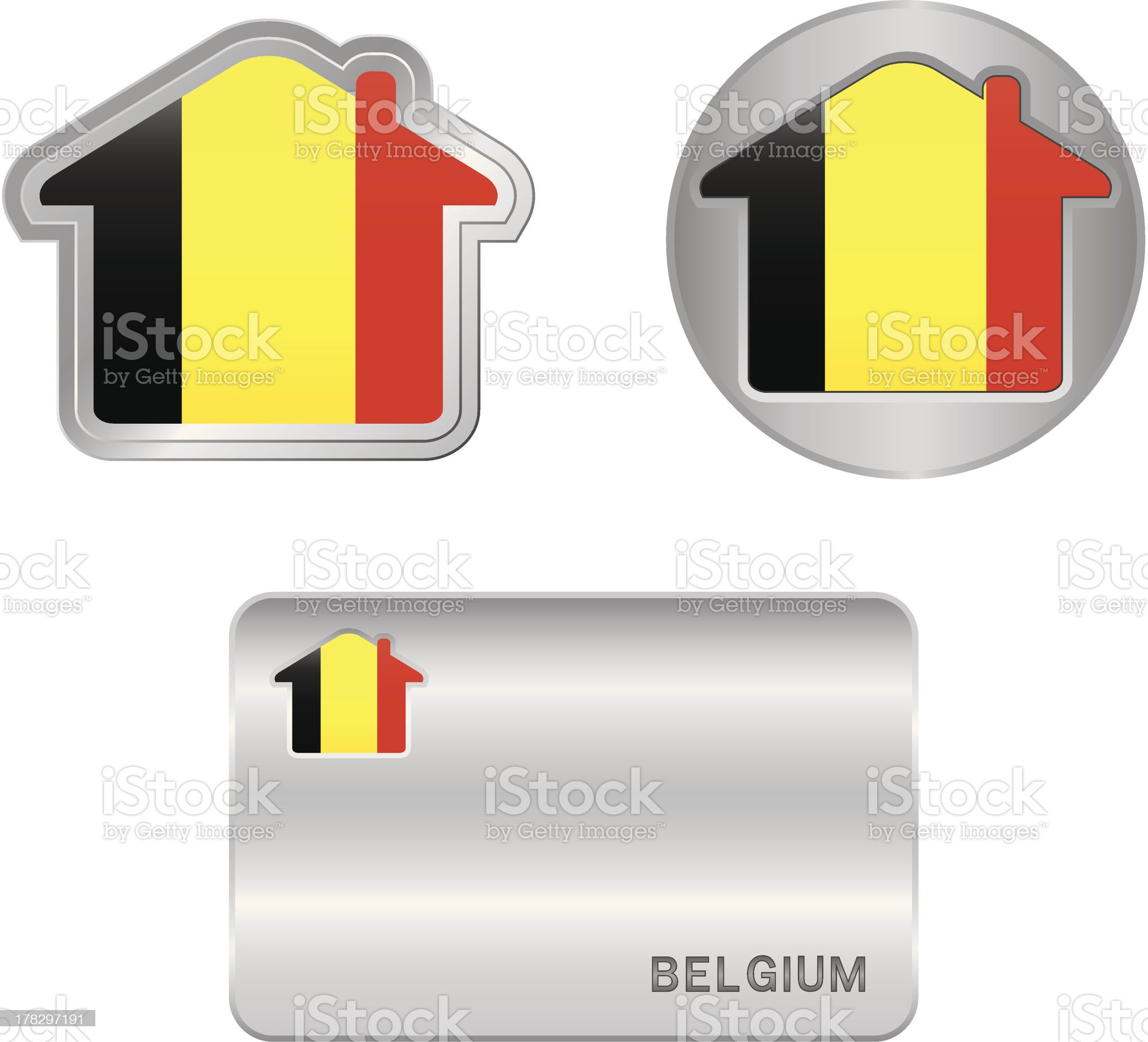 Home icon on the Belgium flag royalty-free stock vector art