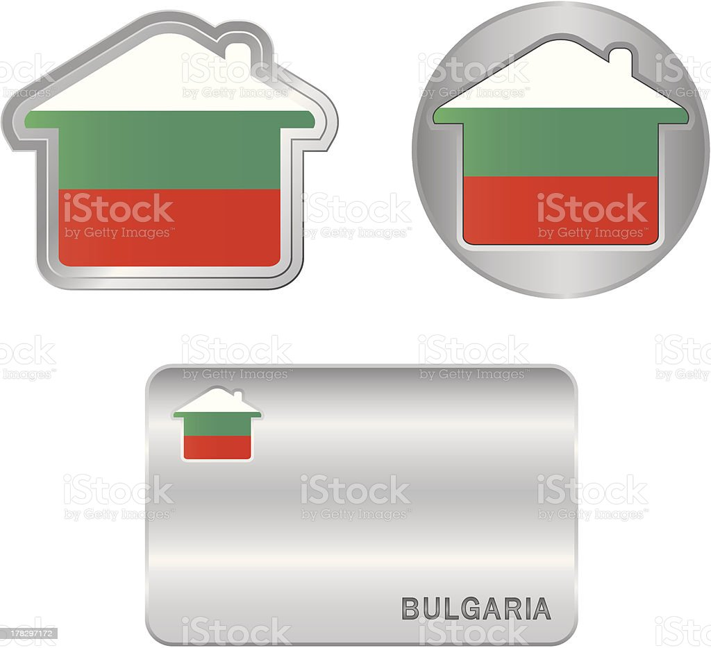 Home icon on the Bulgarian flag royalty-free stock vector art