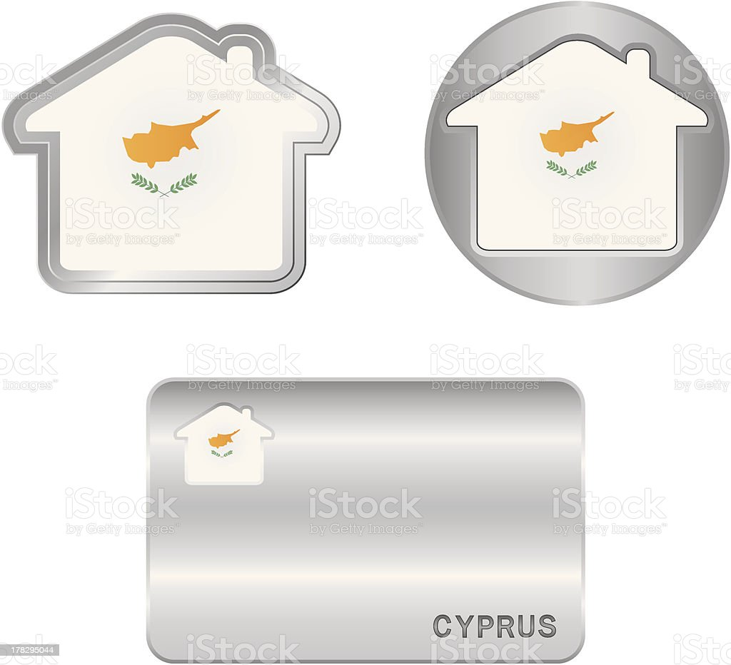 Home icon on the Cyprus flag royalty-free stock vector art