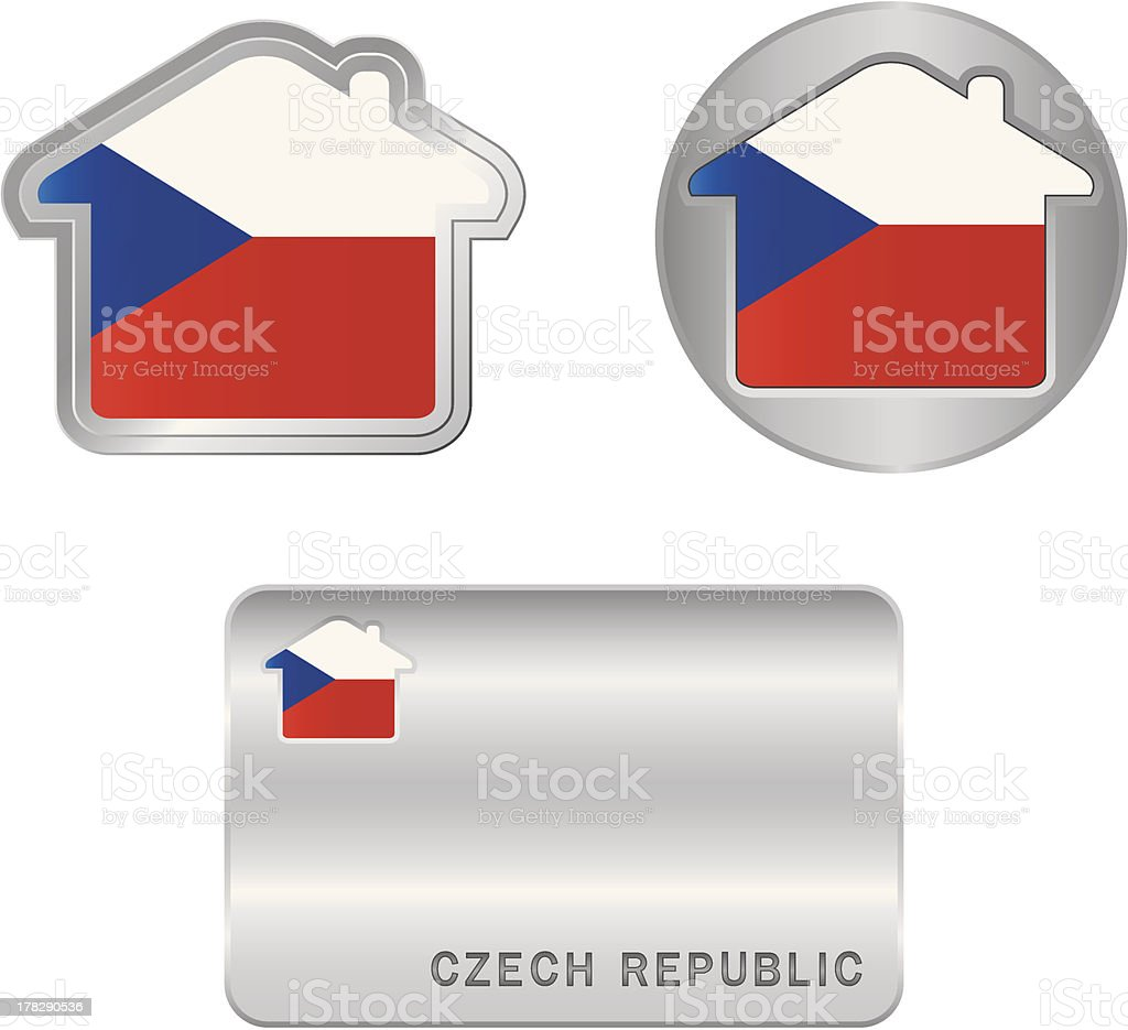 Home icon on the Czech Republic flag royalty-free stock vector art