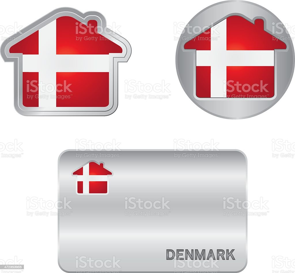 Home icon on the Denmark flag royalty-free stock vector art