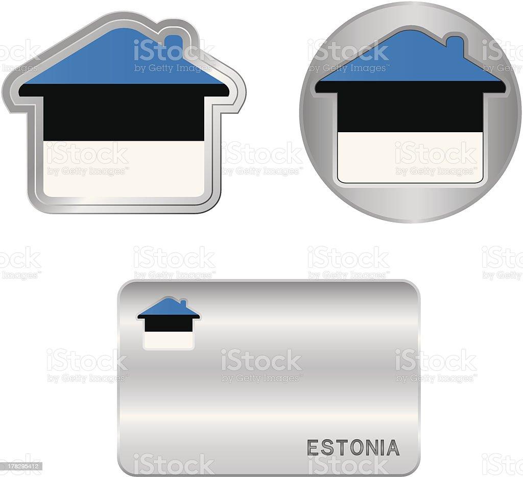 Home icon on the Estonia flag royalty-free stock vector art