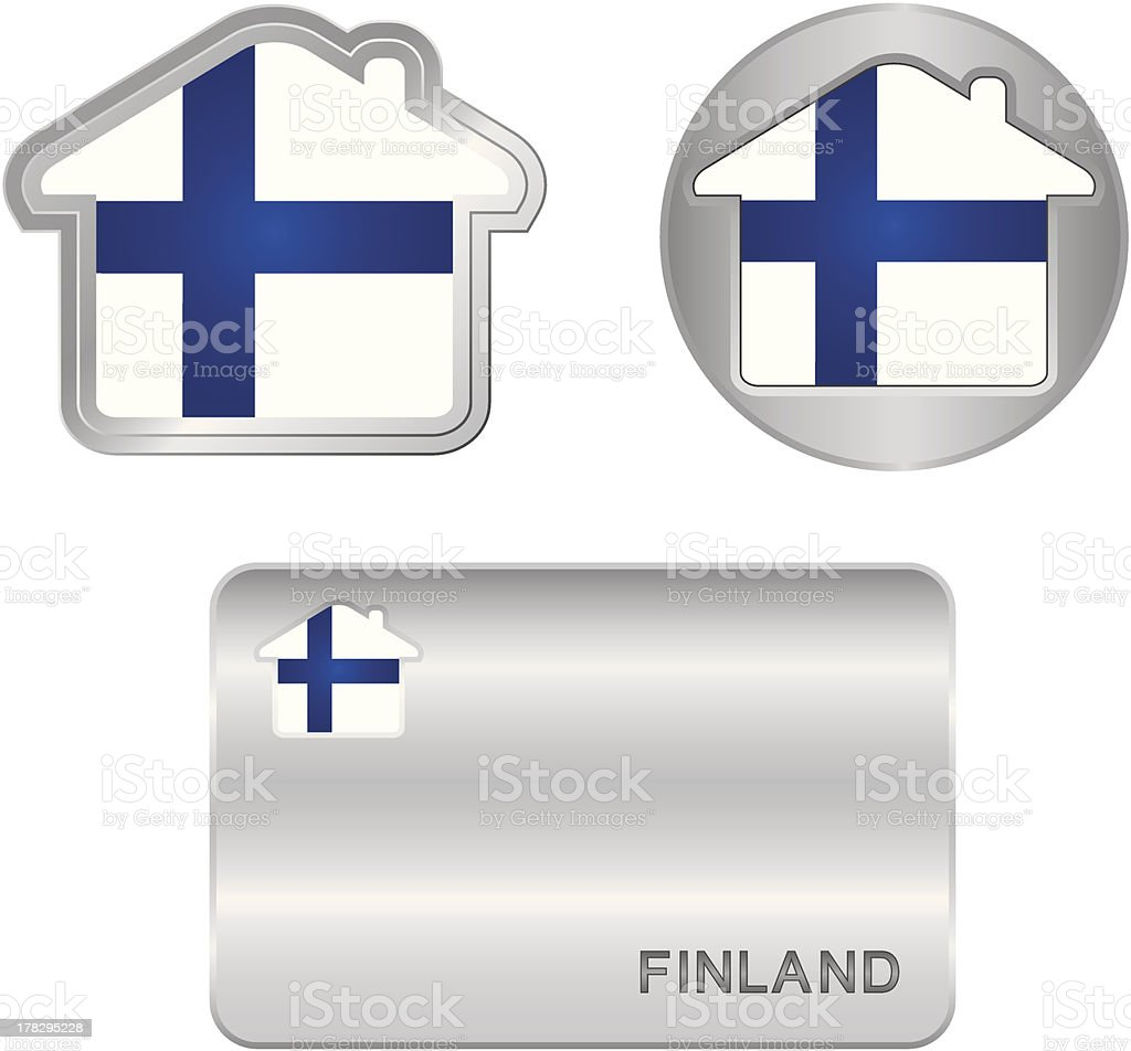 Home icon on the Finland flag royalty-free stock vector art