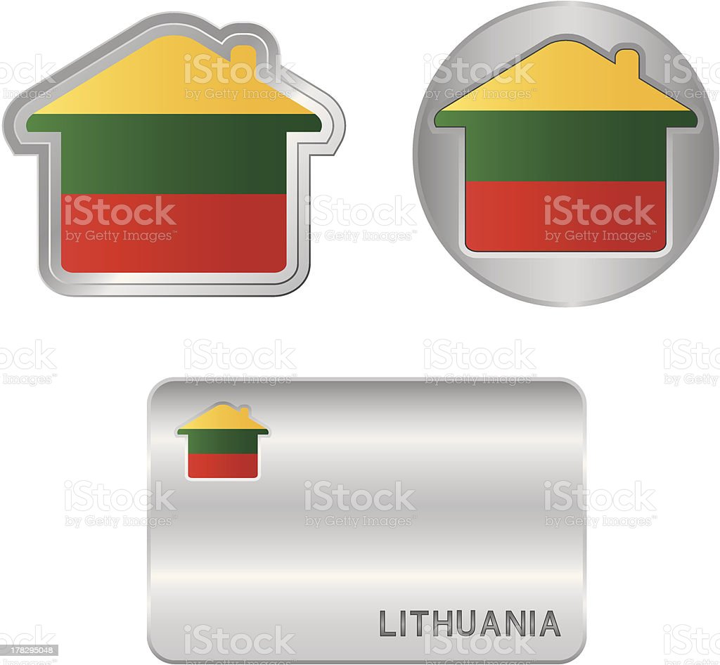 Home icon on the Lithuania flag royalty-free stock vector art