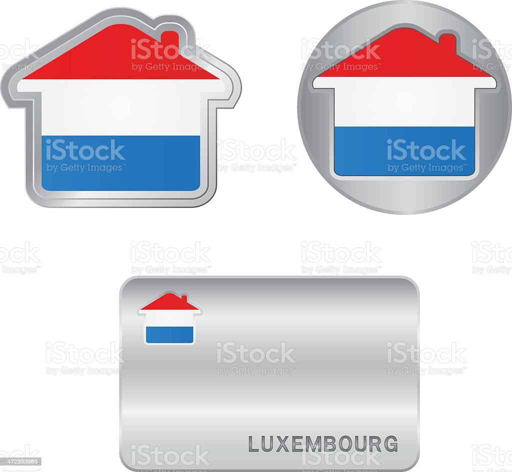 Home icon on the Luxembourg flag royalty-free stock vector art
