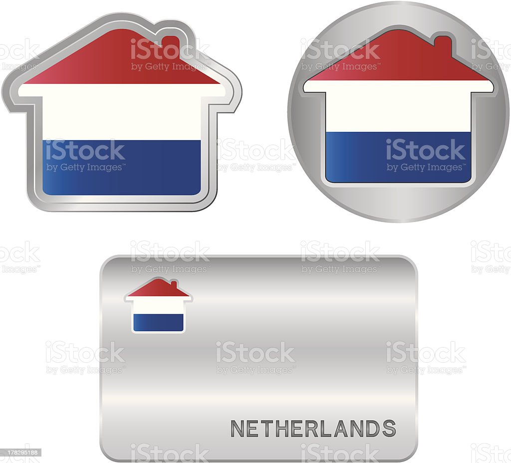 Home icon on the Netherlands flag royalty-free stock vector art