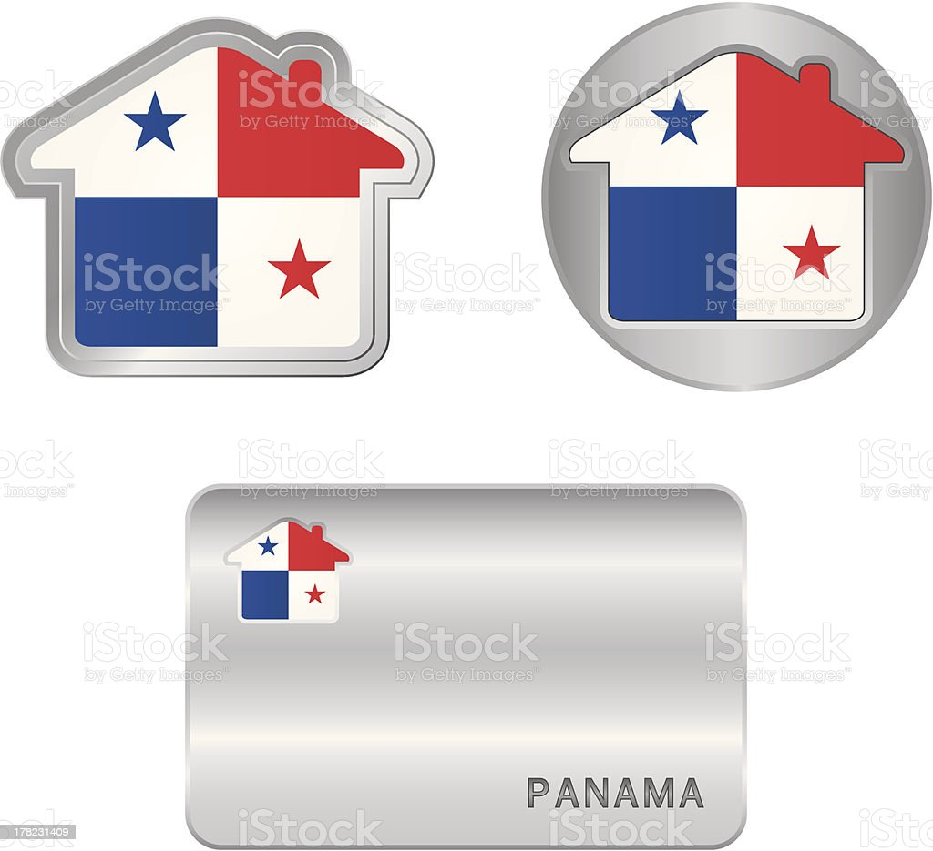 Home icon on the Panama flag royalty-free stock vector art