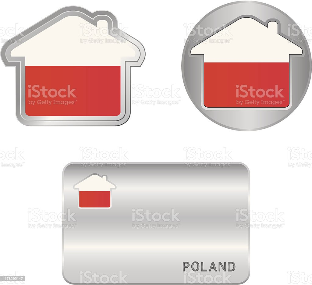 Home icon on the Poland flag royalty-free stock vector art