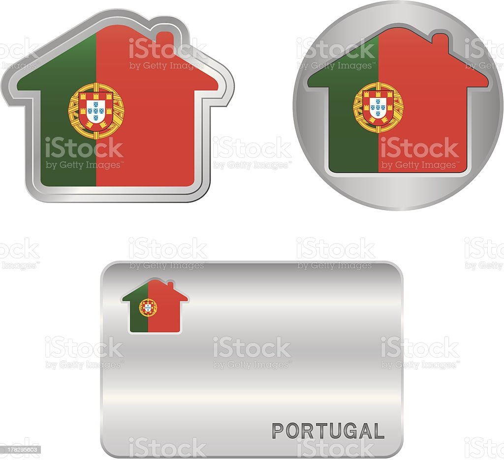 Home icon on the Portugal flag royalty-free stock vector art