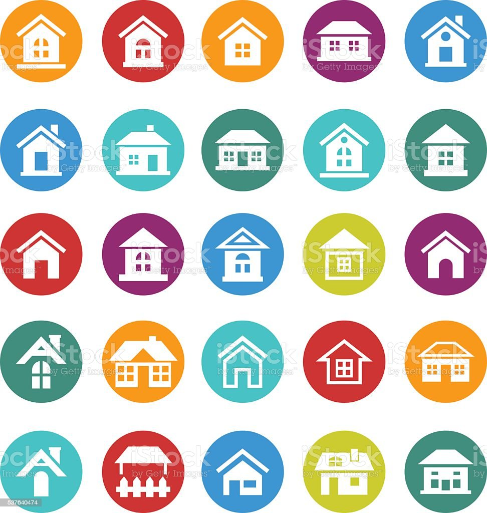Home icon set vector art illustration
