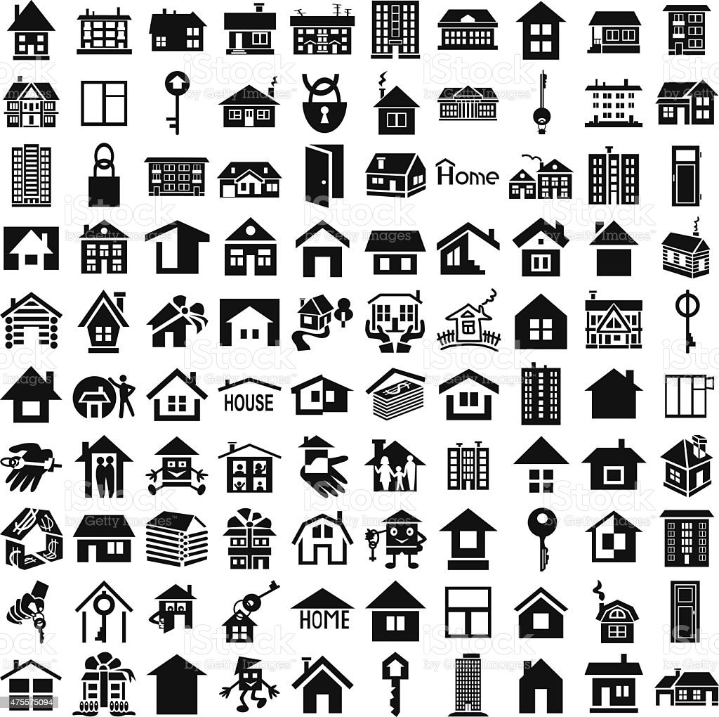 Home icons on white vector art illustration