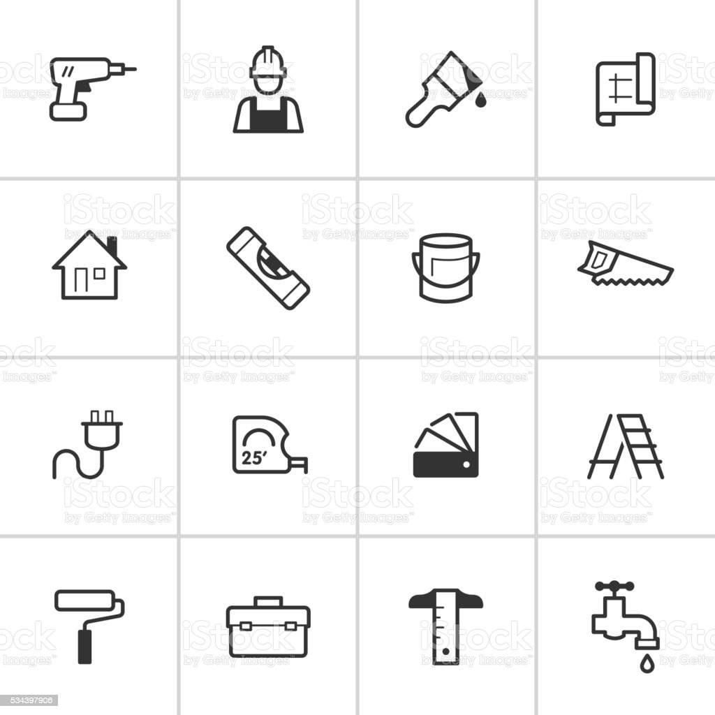 Home Improvement Icons — Inky Series vector art illustration