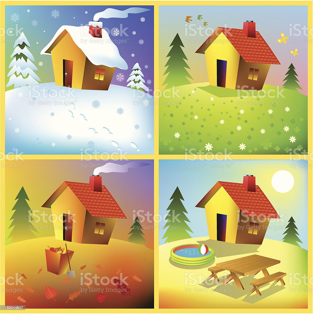 Home in Seasons vector art illustration