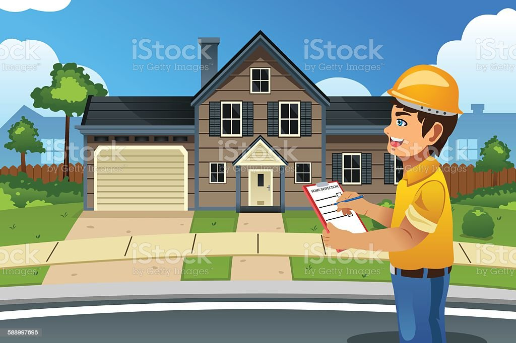 Home Inspector in Front of a House vector art illustration