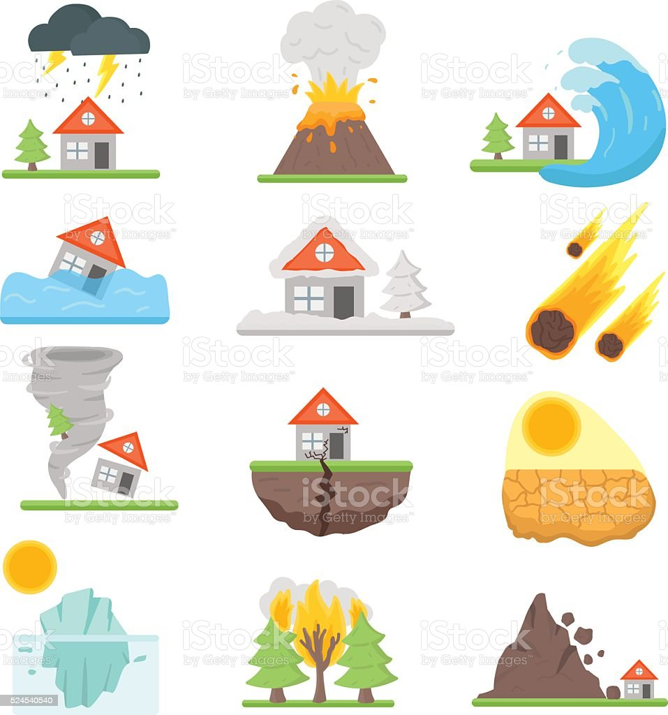 Home insurance business set vector illustration with house icons suffering vector art illustration