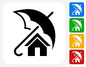 Home Insurance Icon Flat Graphic Design