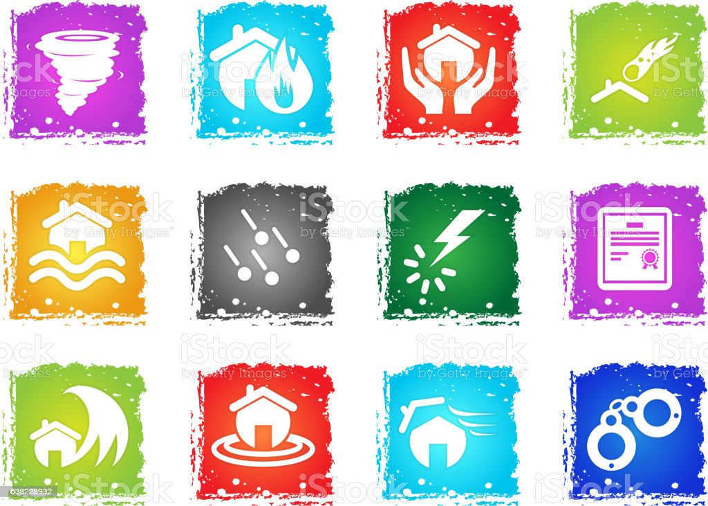 Home Insurance Icons vector art illustration